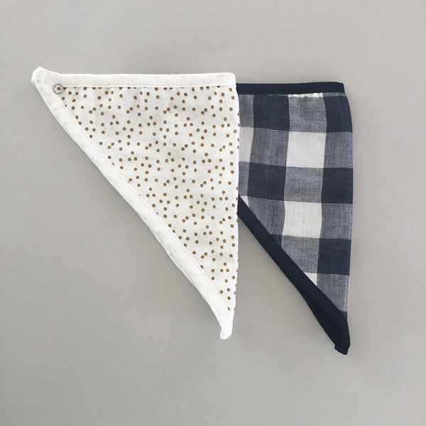 Navy gingham and turmeric dots cotton muslin baby bandana bibs folded