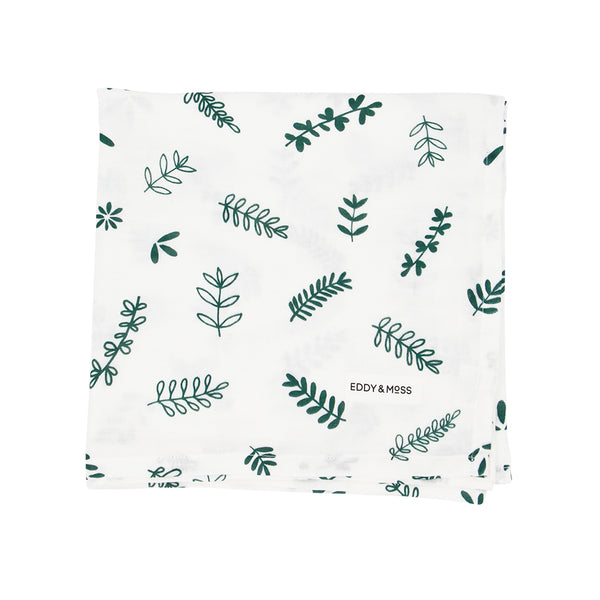 100% Organic Muslin | Swaddle Wrap | Fern and Leaf | Moss Green