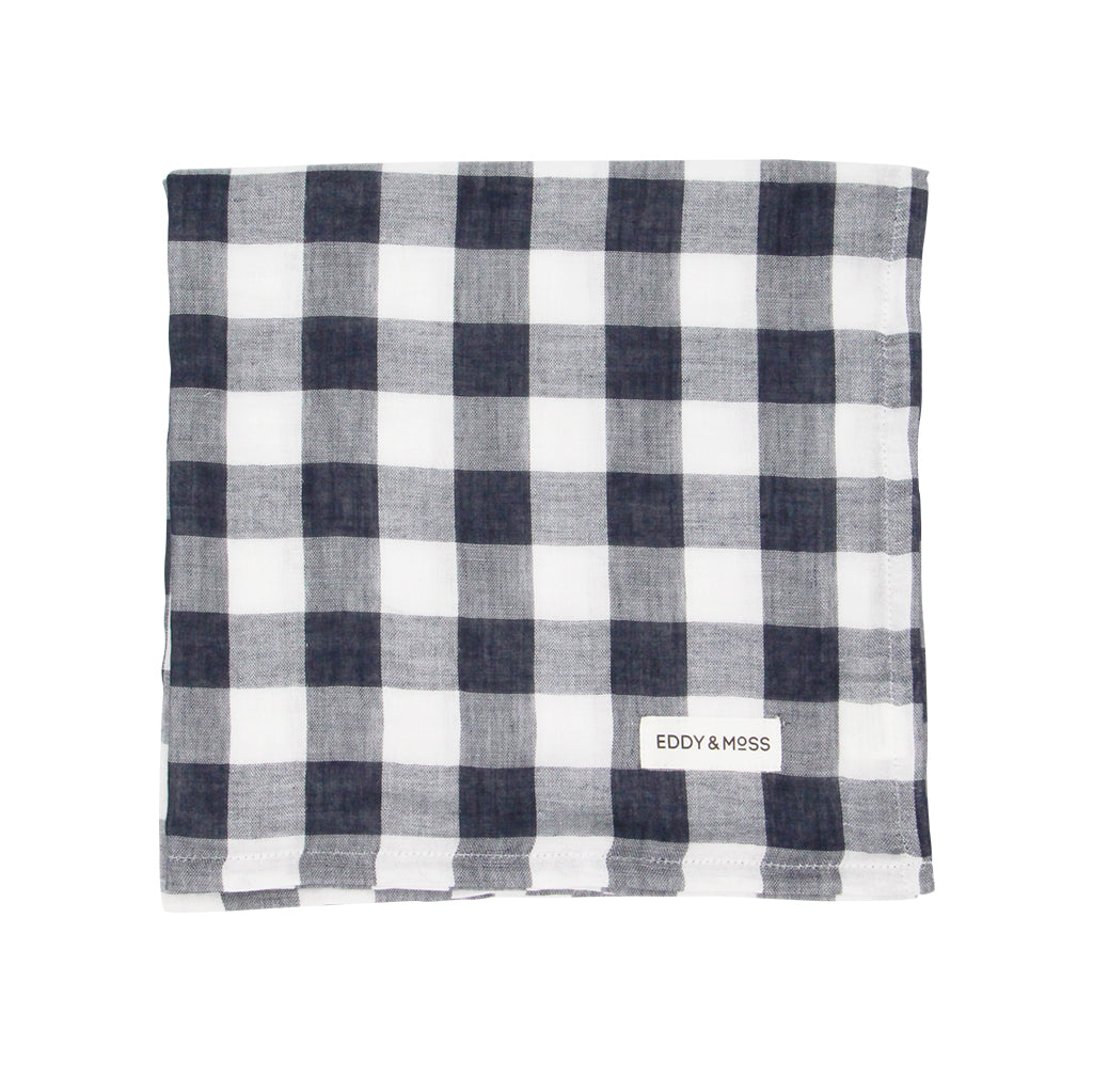 100% Organic Muslin | Swaddle Wrap | Gingham Check | Navy