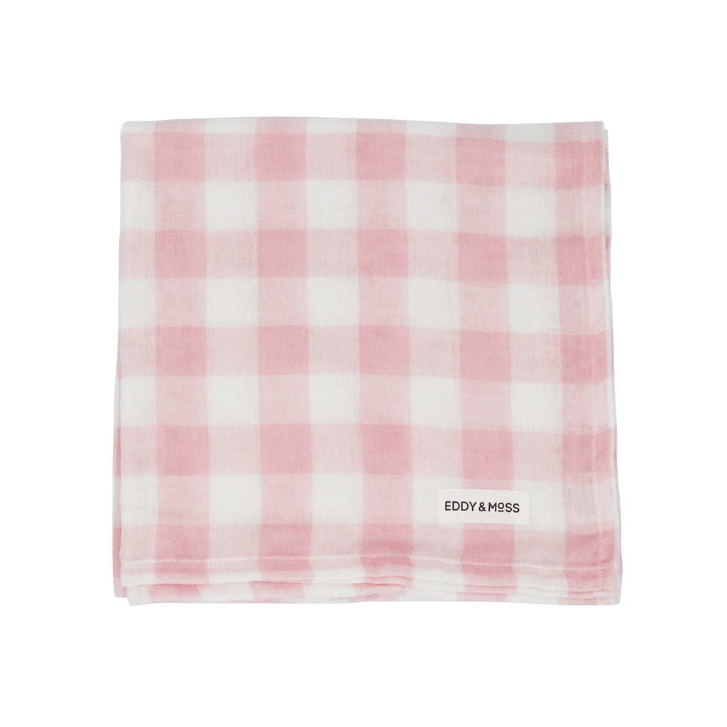 100% Organic Muslin | Swaddle Wrap | Gingham Check | Ballet Pink