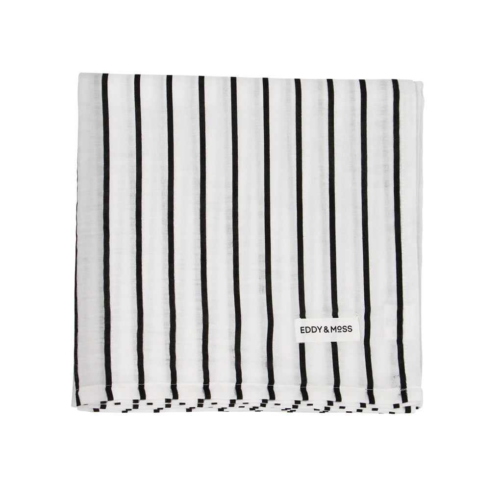 100% Organic Muslin | Swaddle Wrap | Stripe | Black & White