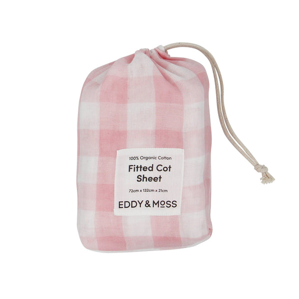100% Organic Muslin | Fitted Cot Sheet | Gingham Check | Ballet Pink