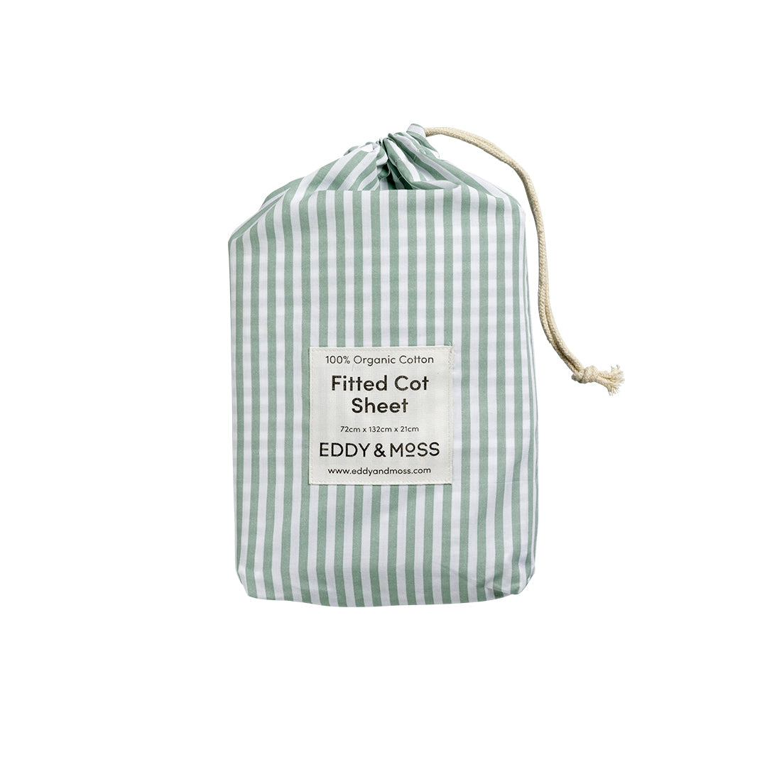 Fitted Cot Sheet PERCALE - Stripe | Pistachio