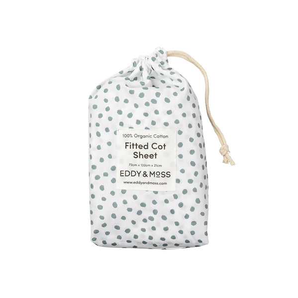 100% Organic Cotton Percale | Fitted Cot Sheet | Spots | Sage