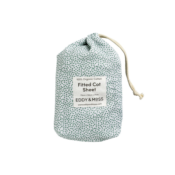 Fitted Cot Sheet MUSLIN - Speckles | Sea Foam
