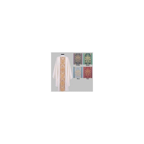 Beau Veste 880 Ample Cut White Chasuble Brocade Color Green