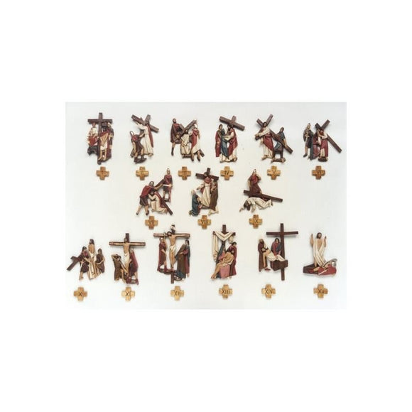 "Stations of the Cross-polychrome (9""-13 3/8""/ 23-34 cm)-1,Stations of the Cross-polychrome (9""-13 3/8""/ 23-34 cm)-2"