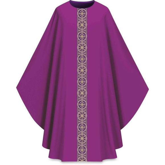 ASSISI Chasuble with woven Orphrey (purple)-1,ASSISI Chasuble with woven Orphrey (purple)-2