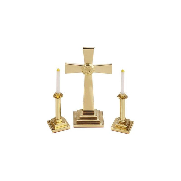 RW-3006 Solid Brass or Silvertone Miniature Altar Set