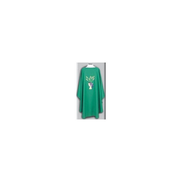 Beau Veste 873 Chalice, Wheat, Grapes Design - Chasuble  Kelly Green  Embroidered Front and Back (A)