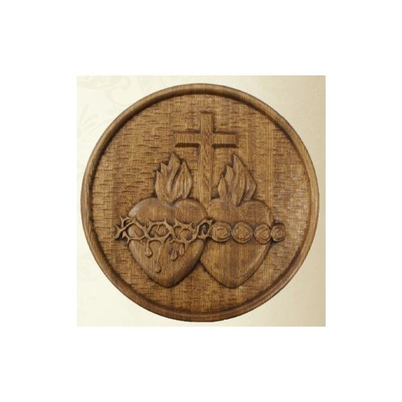 MJ-2HEARTS Sacred Heart Plaque