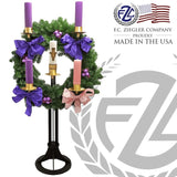 "Vertical Advent Wreath | Steel Black base | 3"" Sockets 