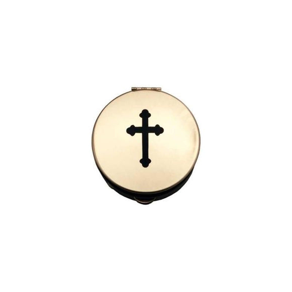PS161 Pyx - Black Budded Trefoil Cross Design
