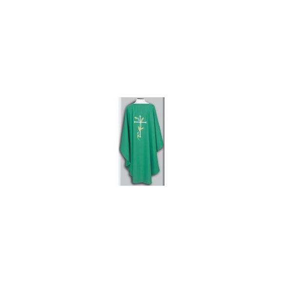 Beau Veste 871 Cross Design - Chasuble  Kelly Green  Embroidered Front and Back (A)