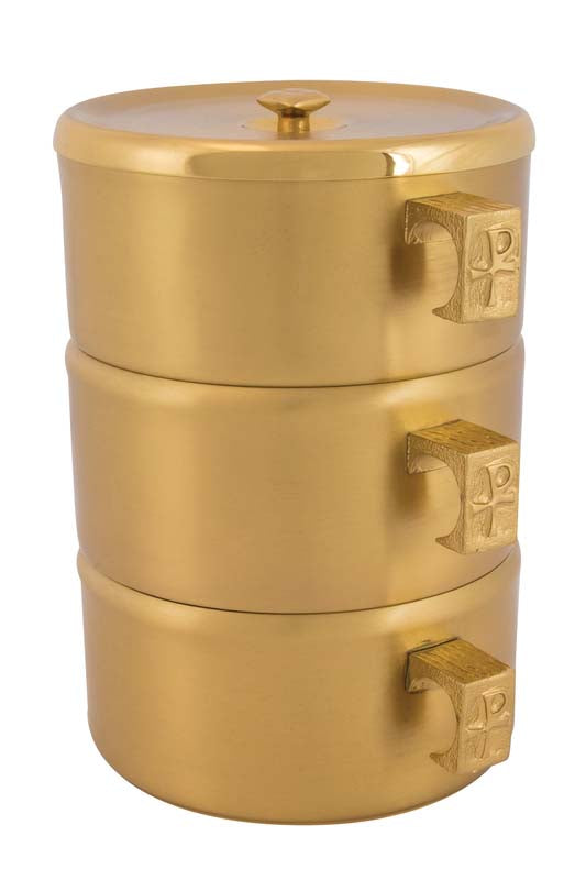 CIBORIA - STACKING SET, SATIN POLISH, 24K GOLD, 453G