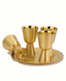Communion Set - w/Cups 24k Gold Satin Polish