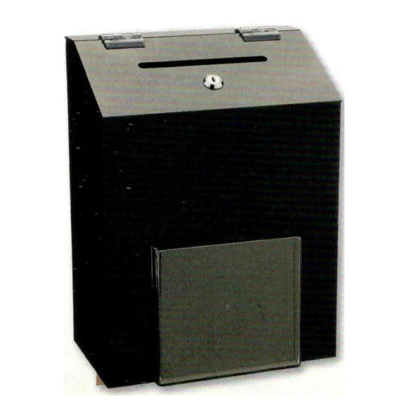 Wall Mounted Donation Box Black Acrylic with Lock