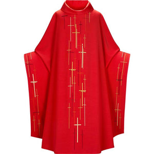 Red (Lined) Monastic Chasuble-1