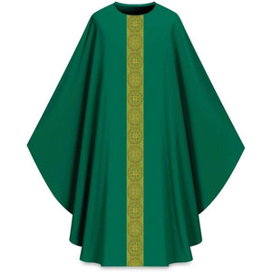 ASSISI Chasuble with Orphrey (green)-1,ASSISI Chasuble with Orphrey (green)-2