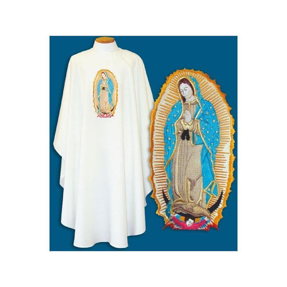 Beau Veste 890 Embroidered Our Lady of Guadalupe Chasuble  Pure White  Embroidery on Front ONLY