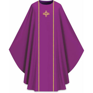 ASSISI Chasuble with orphrey and cross (purple)-1,ASSISI Chasuble with orphrey and cross (purple)-2
