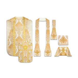 White (Lined) Set: roman chasuble with stole