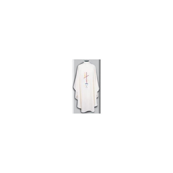 Beau Veste 869 Cross Design - Chasuble  Off White  Embroidered Front Only
