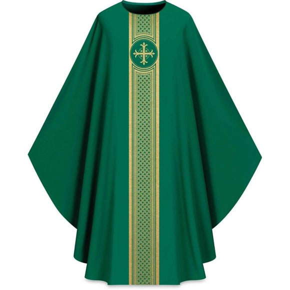 ASSISI Chasuble with woven Orphrey (green)-1,ASSISI Chasuble with woven Orphrey (green)-2