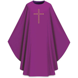 ASSISI Chasuble with embroidered cross (purple)-1,ASSISI Chasuble with embroidered cross (purple)-2