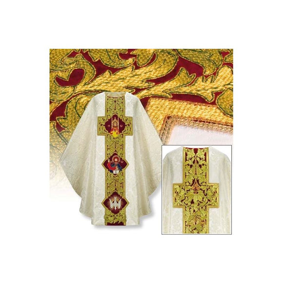 White (Lined) Handembr. chasuble with Trinity-1