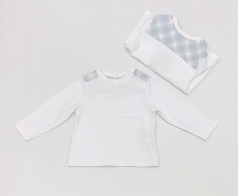 PAT3304  Patachou Baby Boys White L/S Tee  Shirt 6 & 12m