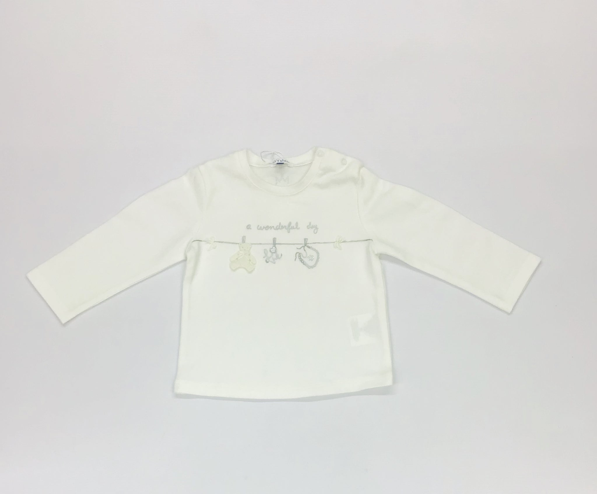 9671 Gymp Baby Girls Offwhite Silver Clothes Line Tee Shirt 18m