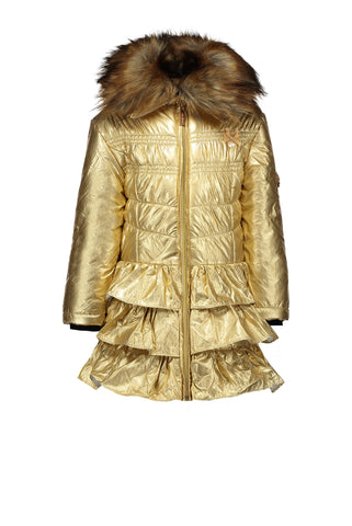LC5200-420 Le Chic Metallic Gold frill coat 2-3 & 3-4y