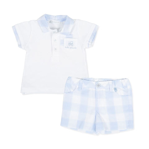 8815 Tutto Piccolo Blue White Check Shorts & Polo Set