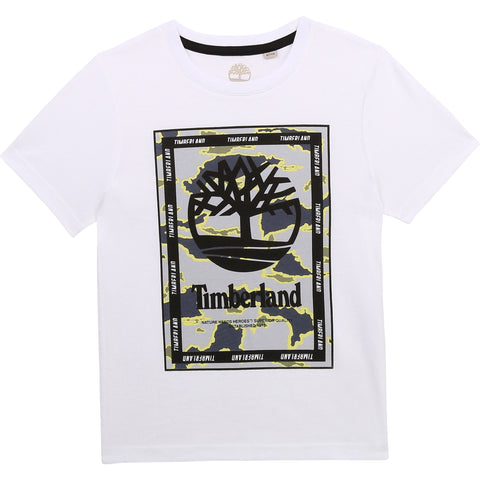 T25R90 Timberland Boy White S/s T-Shirt In Stock