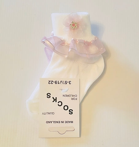 White/Pink Organza Socks