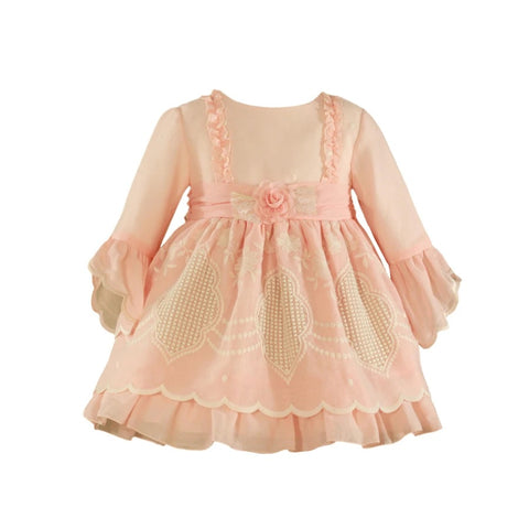 M29-226-V Miranda Girl Pink Embroidered Puffball Dress