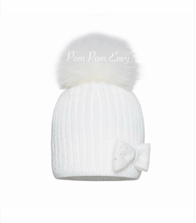 Pom Pom Envy Baby Winter White Twinkle Bow Pom Pom Hat