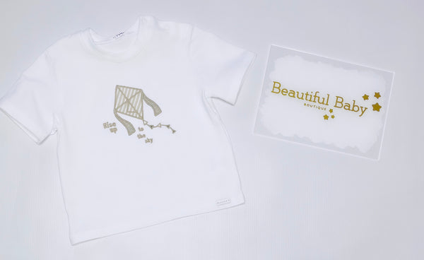 1114-20 Gymp White Embroidered Kite T-Shirt.   In stock