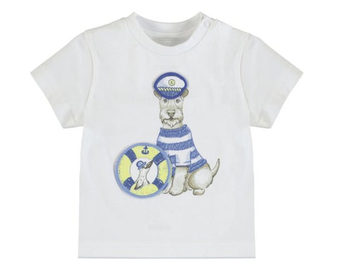"1007-10  Mayoral Baby Boys White S/s T-shirt ""Play"" ""Dogs"" In stock"