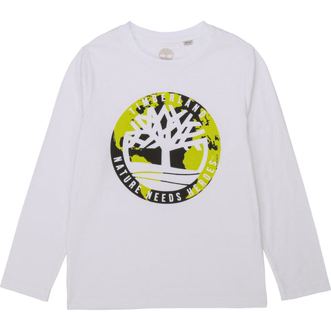 T25R10-10B Timberland White Long Sleeve T-Shirt