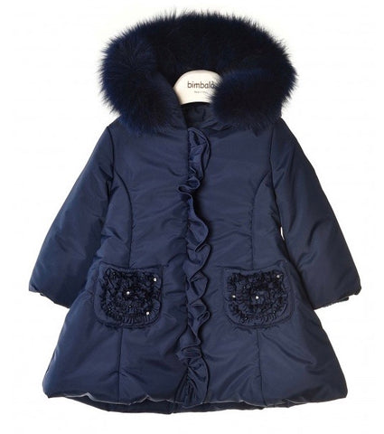 Bimbalo Girls Navy Ruffle Pocket Coat