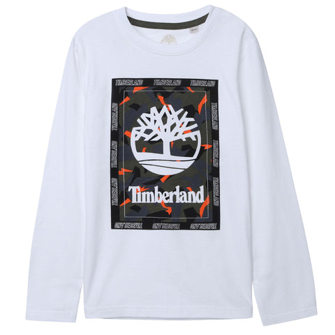 T25R13-10B Timberland White Long Sleeve T-Shirt