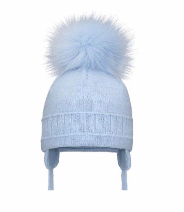 Pom Pom Envy Boy's Blue Cable Single Pom Pom Hat