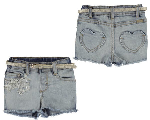 1226-5 Mayoral Baby Girls Denim Shorts 9 & 18m