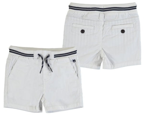 1245-46  Mayoral Baby Boys White Twill Bermuda Shorts in stock