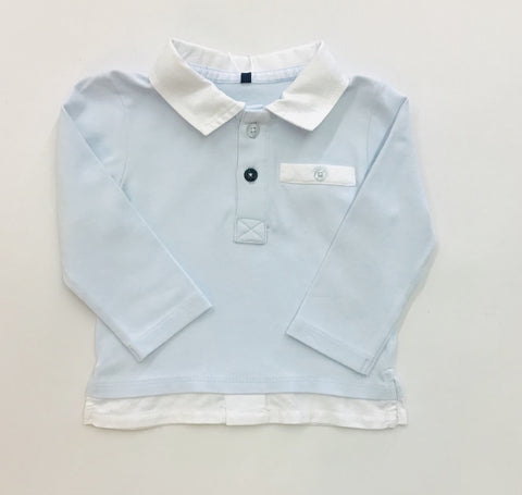 9607 Gymp Baby Boys Light Blue Long Sleeve Polo Shirt 6 & 9m