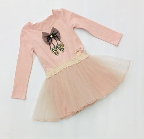 LC5823-211 Le Chic Pink Ballet Shoe Dress 4-5y