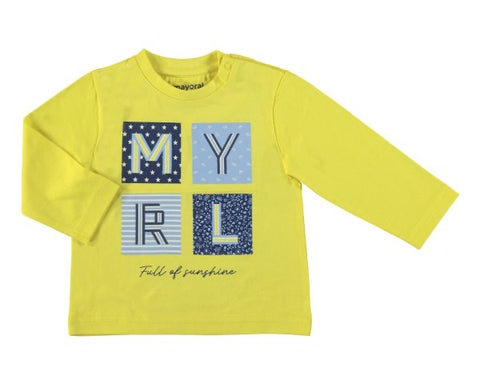 1053-84 Mayoral Baby Boys Yellow Tshirt