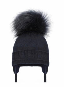Pom Pom Envy Boy's Navy Cable Single Pom Pom  Hat